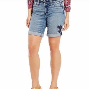 NYDJ Jessica Boyfriend Embroidered Denim Shorts 10